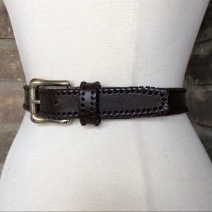 Vintage Belt M Leather Women's Western Brown